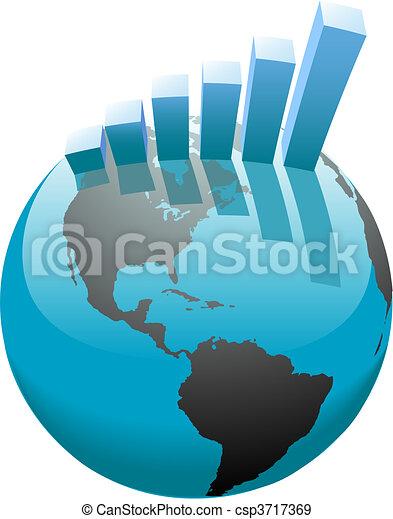 バー, ビジネス, グラフ, 世界的である, 成長, 世界 - csp3717369