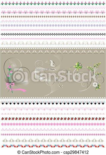 パターン装飾された, ボーダー, calligraphic - csp29847412