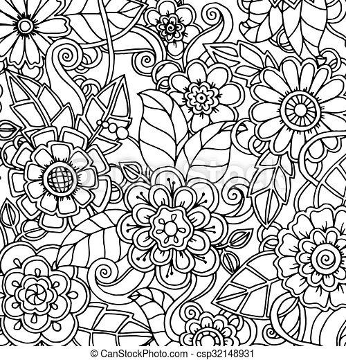 パターン, いたずら書き, doodles, 花, paisley. - csp32148931