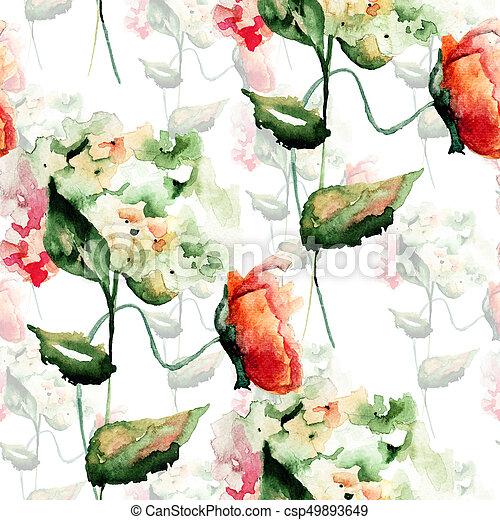 パターン, アジサイ, 花, seamless, ケシ - csp49893649