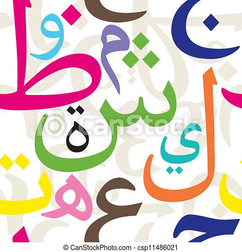 パターン, アラビア, 手紙, seamless - csp11486021