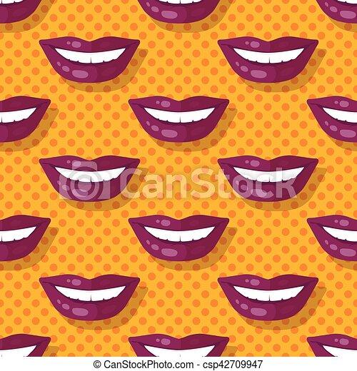 パターン, ポルカ, seamless, 唇, 歯, 微笑, 点 - csp42709947