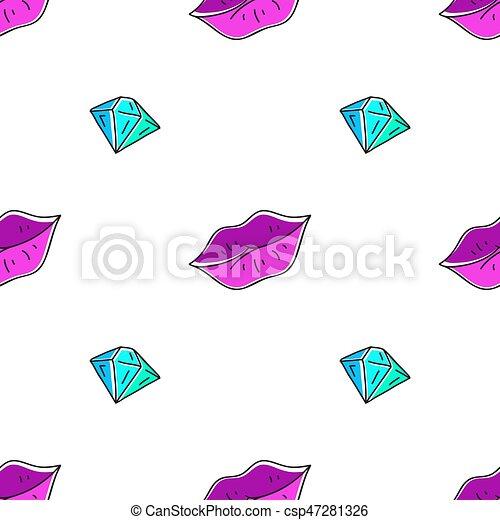 パターン, 唇, ダイヤモンド, seamless - csp47281326