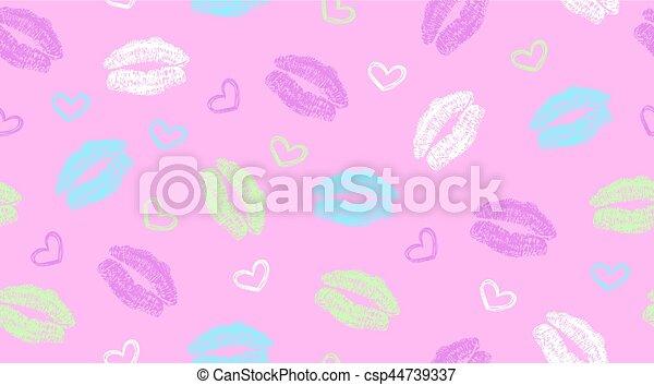 パターン, 唇, 跡, seamless, 心 - csp44739337