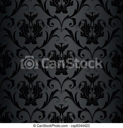 パターン, 壁紙, 黒, seamless - csp8344423