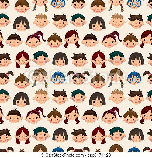 パターン, 子供, seamless, 顔 - csp6174420