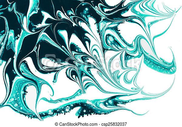 パターン, 抽象的, isolate., ペンキ, 緑, バックグラウンド。, 白, はねる - csp25832037
