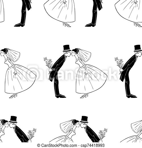 パターン, 新婚者, seamless, 接吻 - csp74418993
