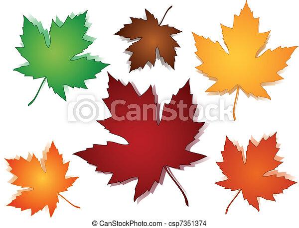 パターン, 葉, seamless, かえで, 秋 - csp7351374