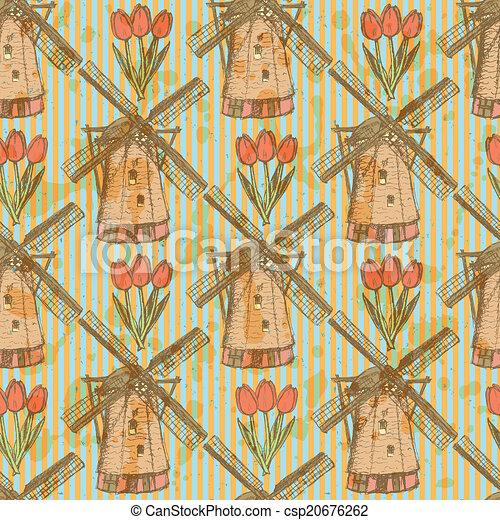 パターン, 風車, seamless, ベクトル, スケッチ, チューリップ - csp20676262