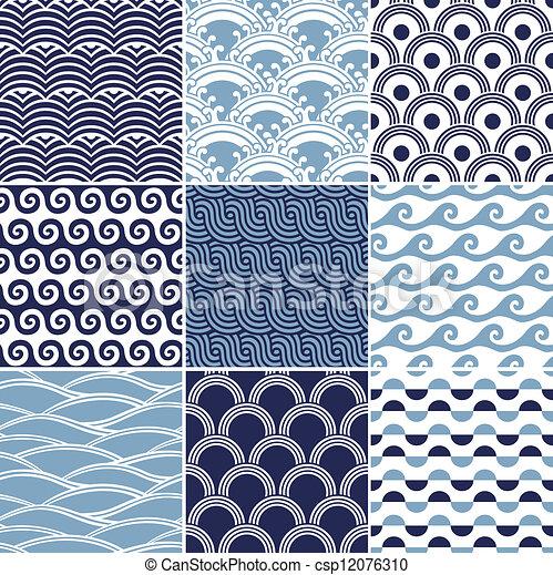 パターン, seamless, 海洋 波 - csp12076310