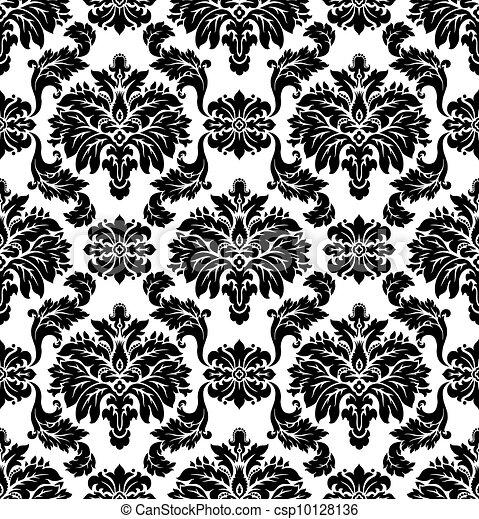 パターン, seamless, vector., ダマスク織 - csp10128136