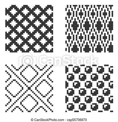 パターン, set., ベクトル, ピクセル, seamless - csp55706970