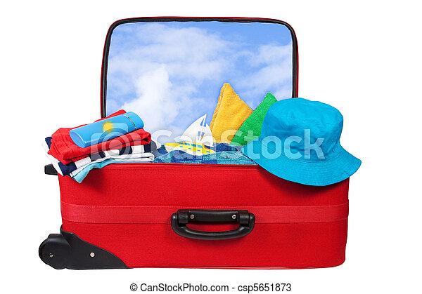 パックされた, 旅行, 休暇, 赤, スーツケース - csp5651873