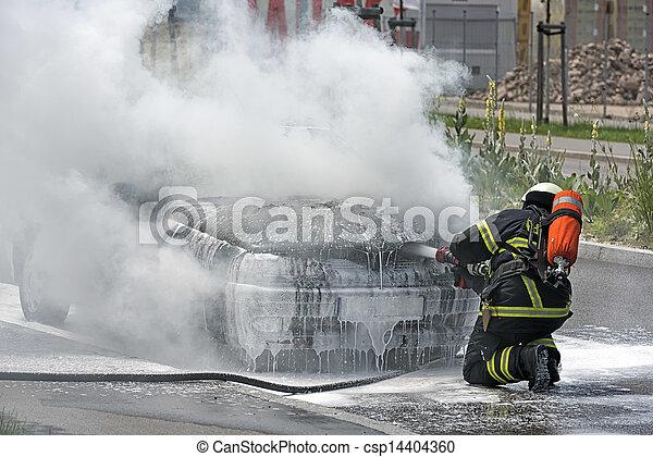 パッティング, 自動車, 消防士, 燃焼 - csp14404360