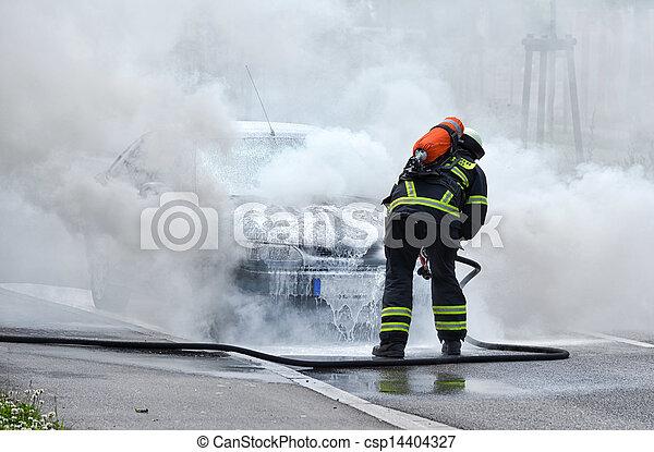 パッティング, 自動車, 消防士, 燃焼 - csp14404327