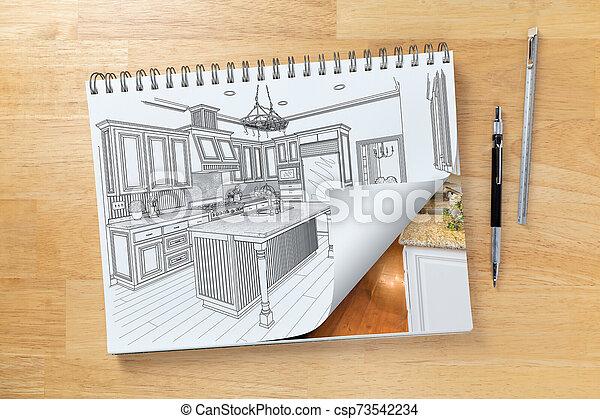 パッド, 図画, 建設, スケッチ, ショー, 机, ページ, 台所, 次に, 定規, 鉛筆, 回転, 終えられた - csp73542234