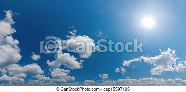 パノラマ, ウィット, 空, 照ること, 太陽 - csp15597195