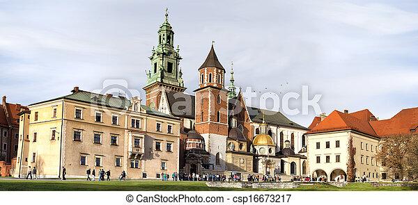 パノラマ, ポーランド, krakow, wawel, 城 - csp16673217