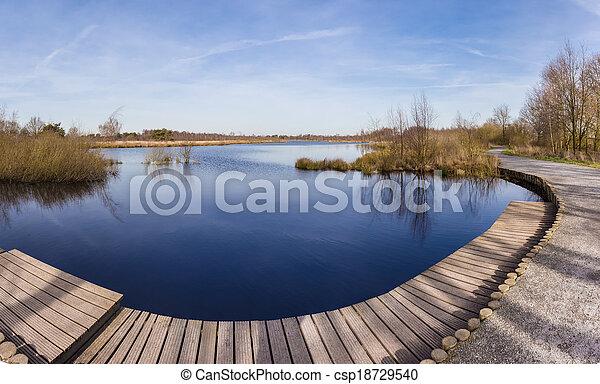 パノラマ, de, 湖, 皮, meerbaansblaak - csp18729540
