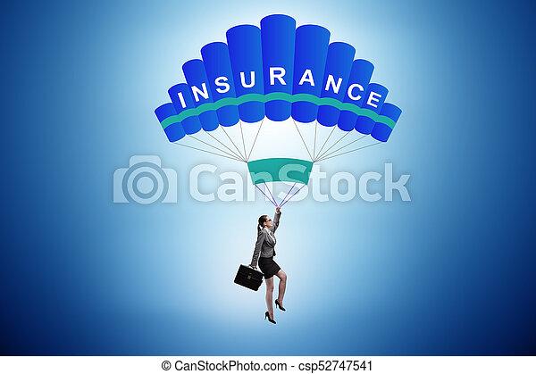 パラシュート, 概念, 女性実業家, 保険 - csp52747541