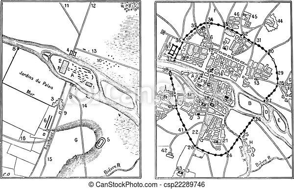 パリ 地図 Engraving 型 Gallo Roman 地図 Illustration 辞書