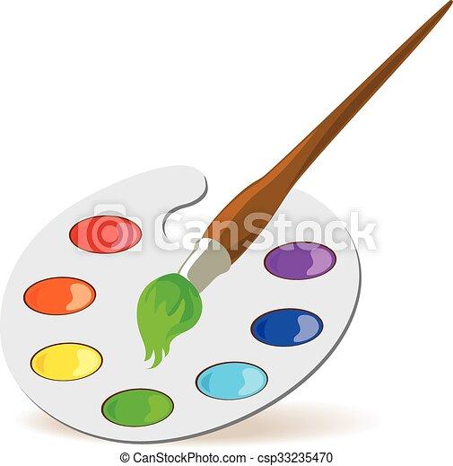 パレット, ペイントブラシ. パレット, illustration., ベクトル, colors ...