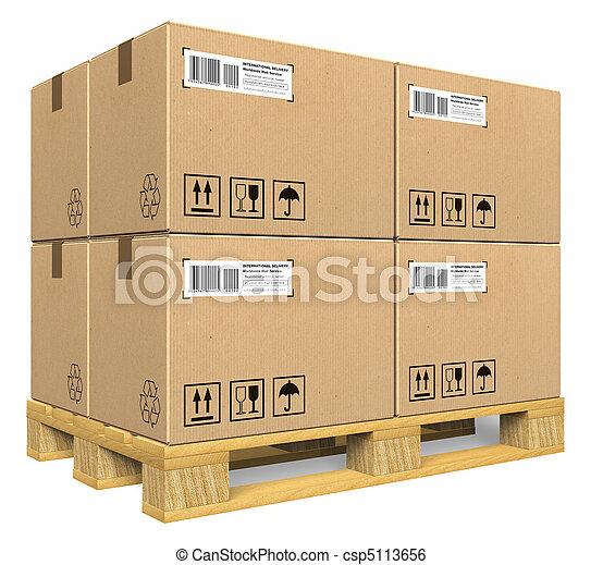 パレット, 箱, ボール紙 - csp5113656
