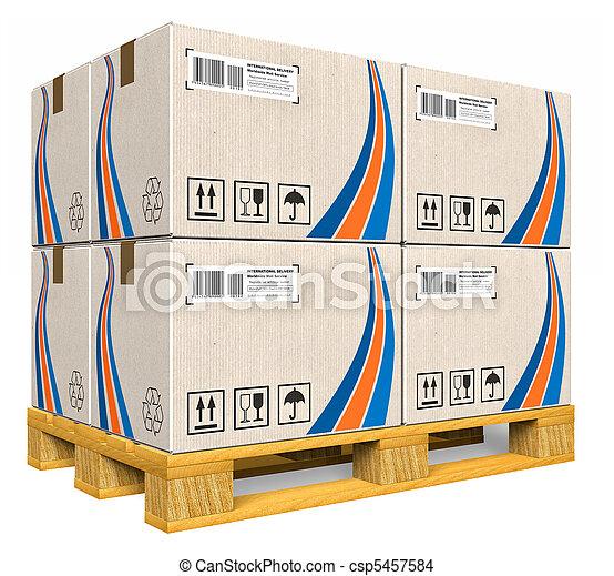 パレット, 箱, ボール紙 - csp5457584