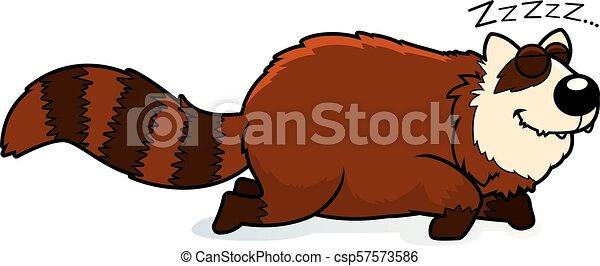 パンダ, 漫画, 赤, 睡眠 - csp57573586