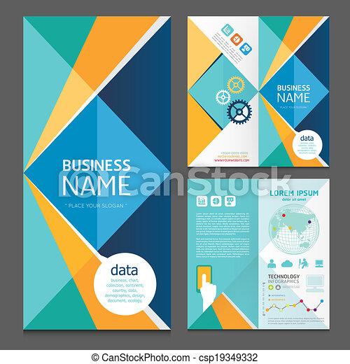 パンフレット, 現代, デザイン, ビジネス, template.vector - csp19349332