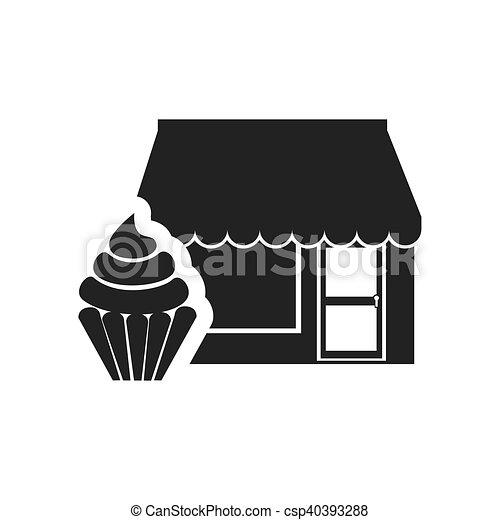 パン屋 店 アイコン 建物 商業 甘い イラスト Cupcake パン屋 ベクトル デザート Silhouette 店 アイコン Canstock