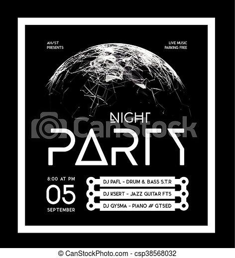 パーティー, 夜, ポスター, 背景, ディスコ - csp38568032