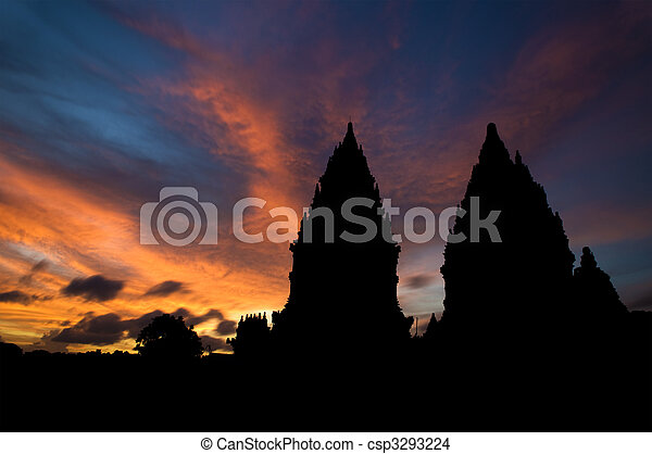 ヒンズー教信徒, 日没, 寺院 - csp3293224