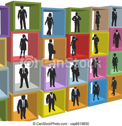 ビジネスオフィス, 人々, 箱, キュービクル, 資源 - csp6619830