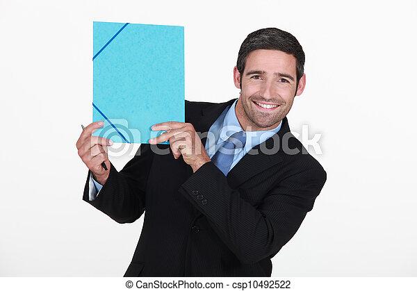 ビジネスマン, すべて, 保有物, ファイル, 微笑 - csp10492522