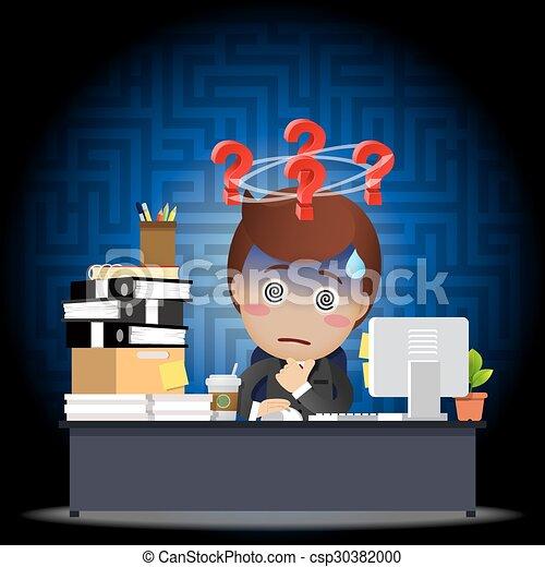 ビジネスマン, コンピュータ, 混乱させられた, 仕事, 机 - csp30382000