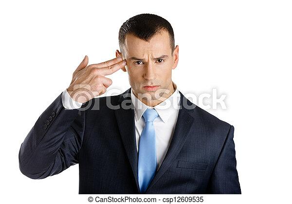 ビジネスマン, ショー, 銃, ジェスチャー, 手 - csp12609535