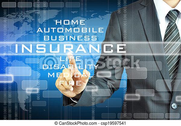 ビジネスマン, スクリーン, 印, virsual, 保険, 感動的である - csp19597541