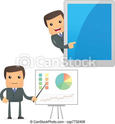 ビジネスマン, セット, 漫画, 面白い - csp7732408