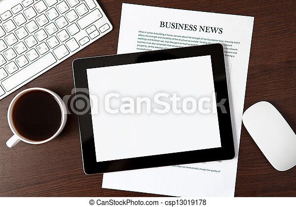 ビジネスマン, タブレット, テーブル - csp13019178