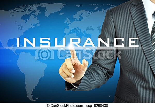 ビジネスマン, 事実上, スクリーン, 印, 保険, 感動的である - csp18260430