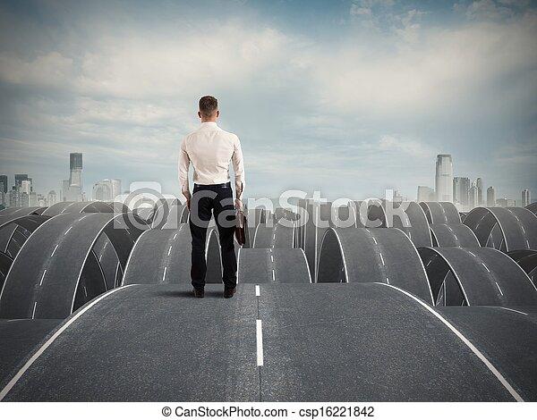ビジネスマン, 困難, 顔 - csp16221842