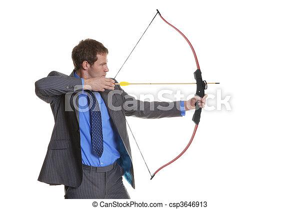 ビジネスマン, 射撃, 矢, 弓 - csp3646913