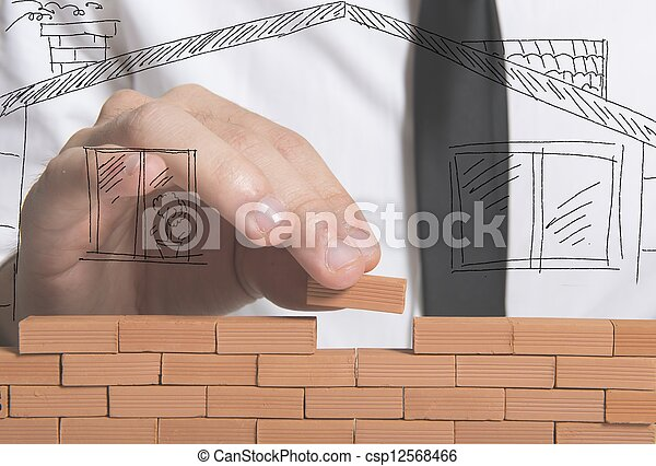 ビジネスマン, 建造する, 新しい家 - csp12568466
