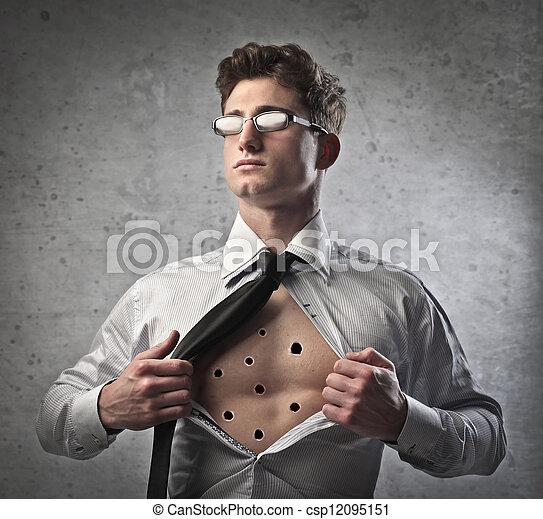 ビジネスマン, 彼の, ワイシャツ, unbuttonning - csp12095151