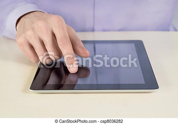 ビジネスマン, 感動的である, タブレットの pc - csp8036282