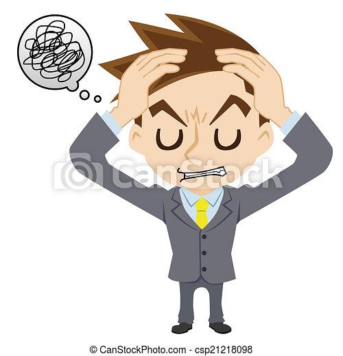 ビジネスマン, 持つ, 頭痛 - csp21218098