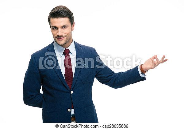 ビジネスマン, 歓迎, 腕, ジェスチャー, から - csp28035886