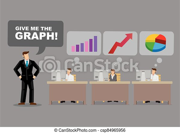 ビジネスマン, 漫画, 要求, グラフ - csp84965956